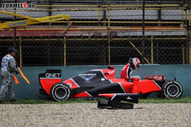 Timo Glock (Marussia) hatte bei diesem Unfall Glü+ck und blieb unverletzt