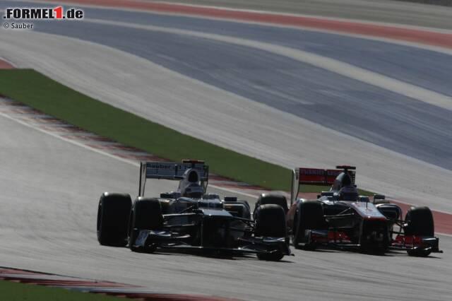 Kamui Kobayashi (Sauber) und Jenson Button (McLaren)