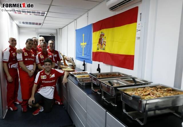 Europäisches Buffet anlässlich des 200. Grand Prix von Fernando Alonso (Ferrari)