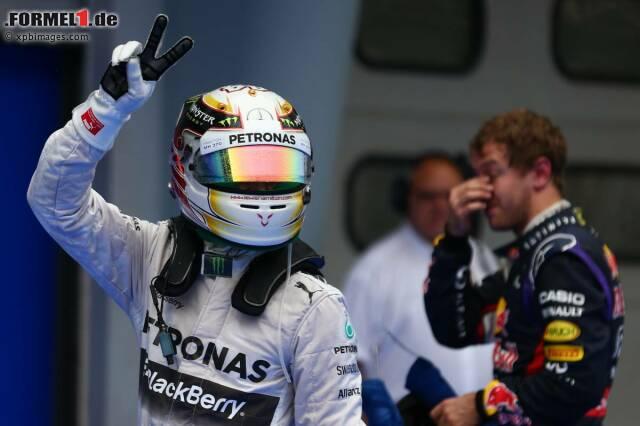 Lewis Hamilton holt sich nach dem Saisonauftakt in Melbourne auch in Sepang die Pole Position - diesmal im Regen!