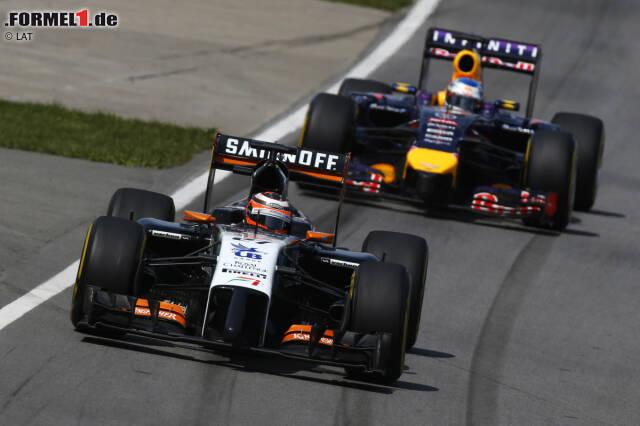 Nico Hülkenberg (Force India) und Sebastian Vettel (Red Bull)