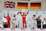Lewis Hamilton (Mercedes), Sebastian Vettel (Ferrari) und Nico Rosberg (Mercedes)