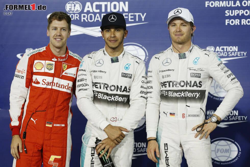 Lewis Hamilton war im Qualifying in Bahrain nicht zu stoppen - doch Sebastian Vettel überraschte auf dem zweiten Rang, auch den geschlagenen Nico Rosberg