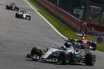 Nico Rosberg (Mercedes), Sebastian Vettel (Ferrari) und Valtteri Bottas (Williams)