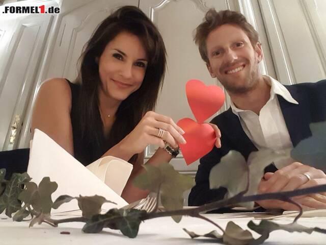 Love is in the air: Haas-Pilot Romain Grosjean macht es vor. Der 30-Jährige ist seit vier Jahren mit Journalistin Marion Jolles verheiratet, hat mit ihr bereits zwei Kinder und wirkt trotzdem noch verliebt wie am ersten Tag.