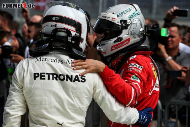 Valtteri Bottas und Sebastian Vettel hatten sich auch nach dem Fight noch lieb. Jetzt durch die 17 besten Highlight-Fotos klicken!