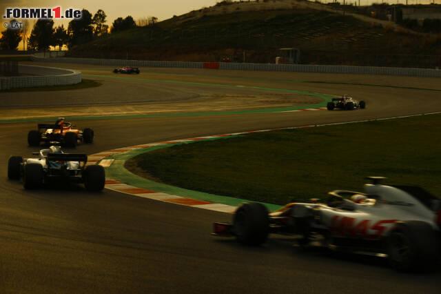 Kevin Magnussen (Haas), Lance Stroll (Williams), Sebastian Vettel (Ferrari) und Marcus Ericsson (Sauber)