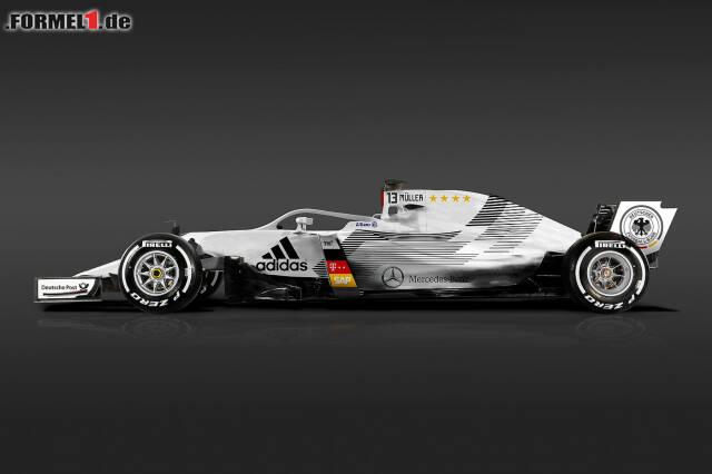 So könnte ein Formel-1-Auto der Deutschen Nationalmannschaft aussehen. Und so die der anderen 31 Länder