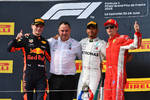 Max Verstappen (Red Bull), Lewis Hamilton (Mercedes) und Kimi Räikkönen (Ferrari)