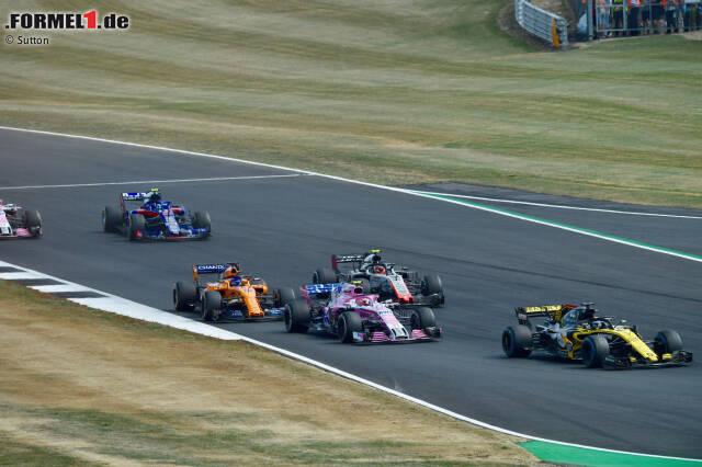 Nico Hülkenberg (Renault), Esteban Ocon (Force India), Kevin Magnussen (Haas) und Fernando Alonso (McLaren)