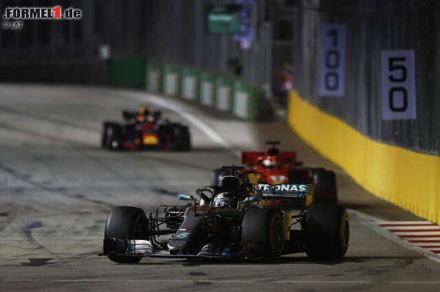 Lewis Hamilton (Mercedes), Sebastian Vettel (Ferrari) und Max Verstappen (Red Bull)