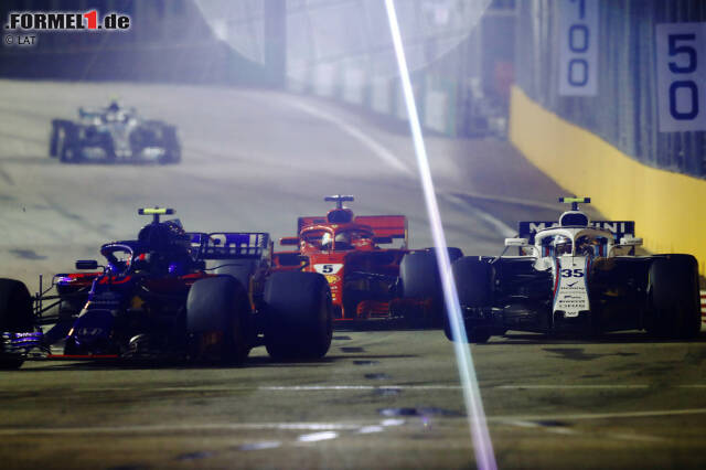 Pierre Gasly (Toro Rosso), Sergei Sirotkin (Williams) und Sebastian Vettel (Ferrari)