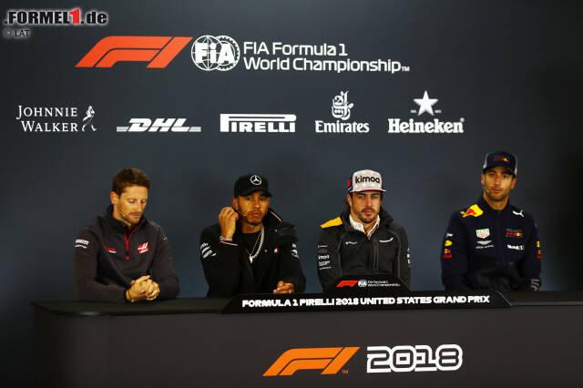 Romain Grosjean (Haas), Lewis Hamilton (Mercedes) und Fernando Alonso (McLaren)