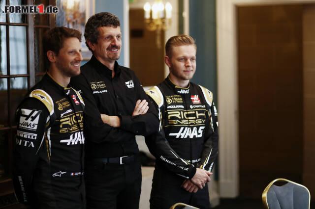 Romain Grosjean, Günther Steiner und Kevin Magnussen beim Launch in London. Für Fotos vom neuen Auto jetzt durchklicken!