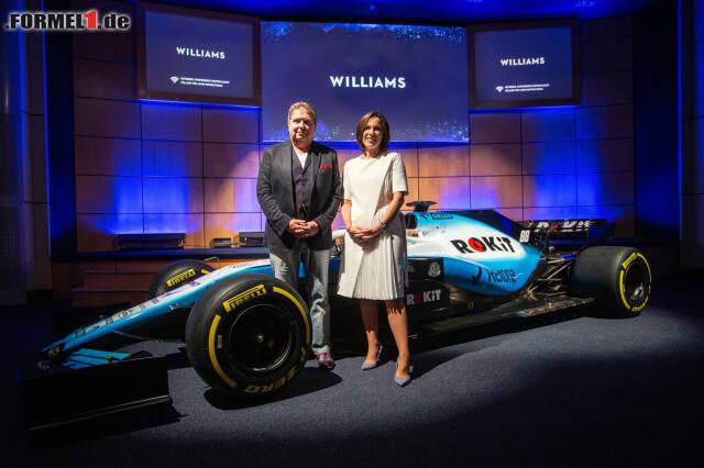 Claire Williams und ROCKit-Boss Jonathan Kendrick: Williams bleibt traditionell britisch. Jetzt durch die Fotos des neuen Williams-Designs klicken!
