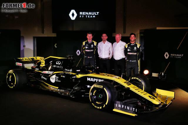 Abiteboul, Sportchef Stoll und die beiden Hoffnungsträger Hülkenberg und Ricciardo. Jetzt durch die Bilder des neuen Renault-Boliden klicken!