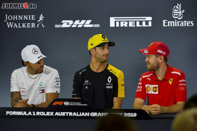 Sebastian Vettel wirkte bei der PK etwas zuversichtlicher als Lewis Hamilton.