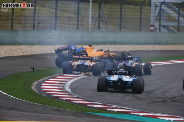 Daniil Kwjat (Toro Rosso), Carlos Sainz (McLaren) und Lando Norris (McLaren)