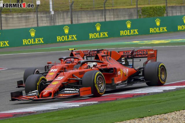 Sebastian Vettel geht in Schanghai per Teamorder an Charles Leclerc vorbei. Die Highlights des Zwists jetzt durchklicken!