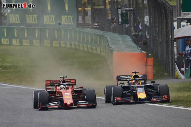 Sebastian Vettel (Ferrari) und Max Verstappen (Red Bull)