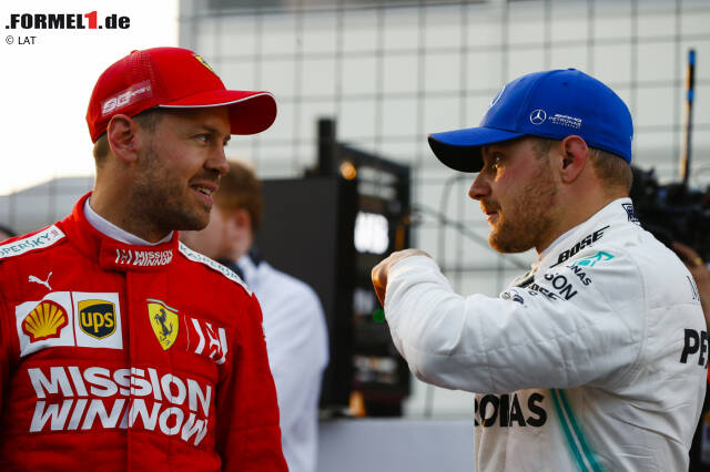 Sebastian Vettel (Ferrari) und Valtteri Bottas (Mercedes)