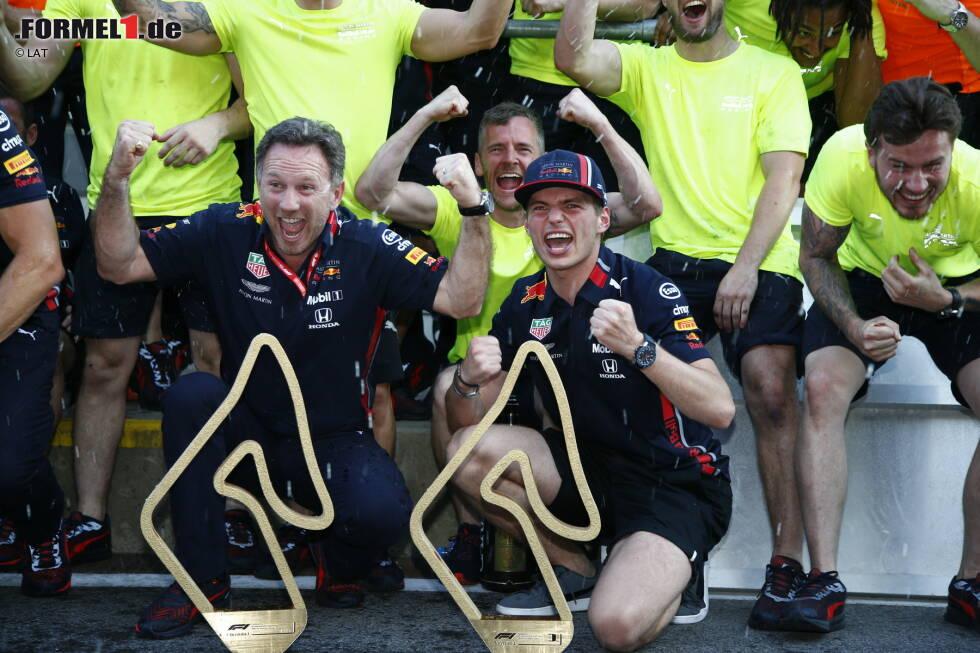 Christian Horner und Max Verstappen (Red Bull)