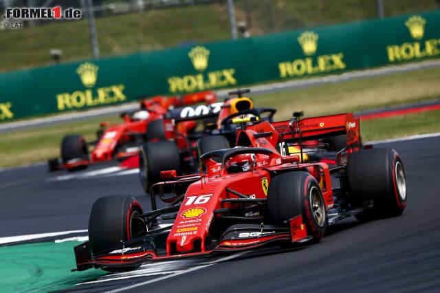 Charles Leclerc (Ferrari), Max Verstappen (Red Bull) und Sebastian Vettel (Ferrari)