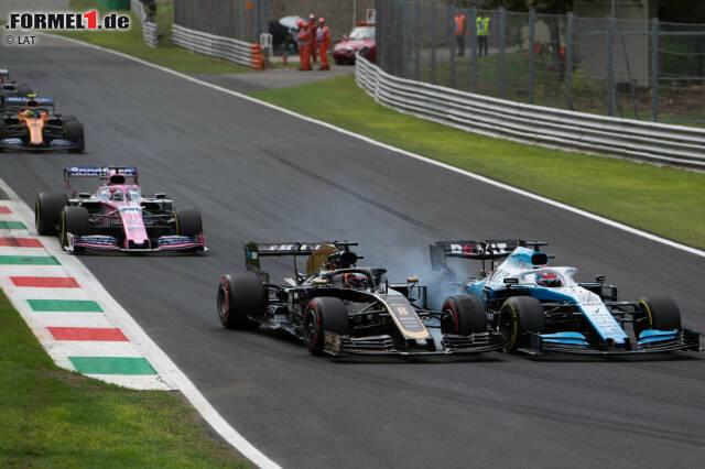 George Russell (Williams), Romain Grosjean (Haas), Sergio Perez (Racing Point) und Lando Norris (McLaren)