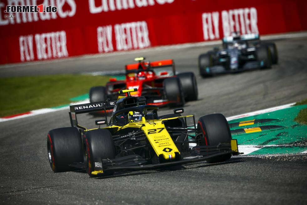 Nico Hülkenberg (Renault), Charles Leclerc (Ferrari) und Lewis Hamilton (Mercedes)