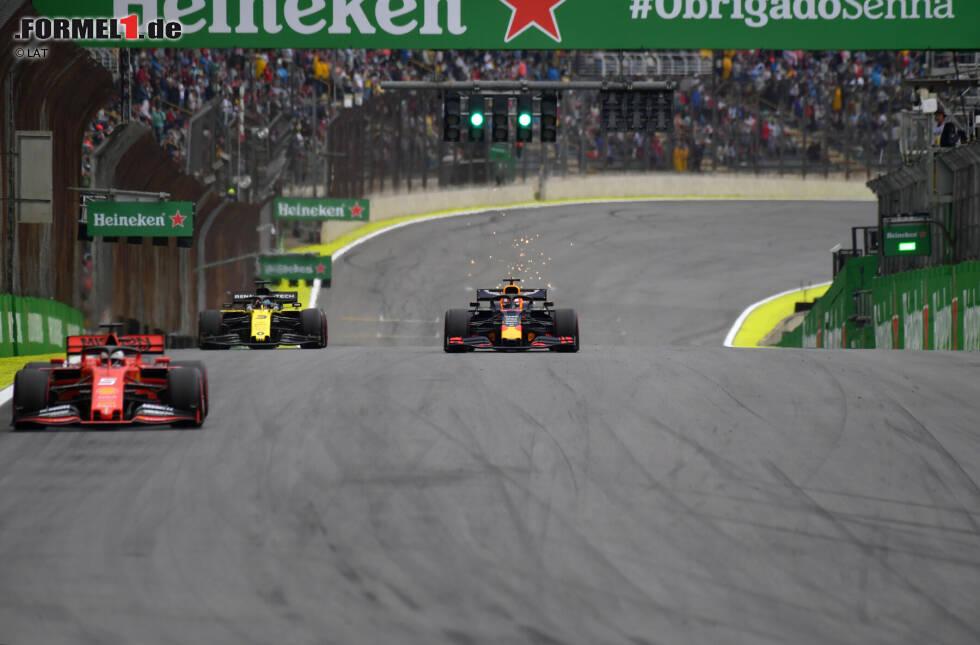 Sebastian Vettel (Ferrari), Max Verstappen (Red Bull) und Daniel Ricciardo (Renault)