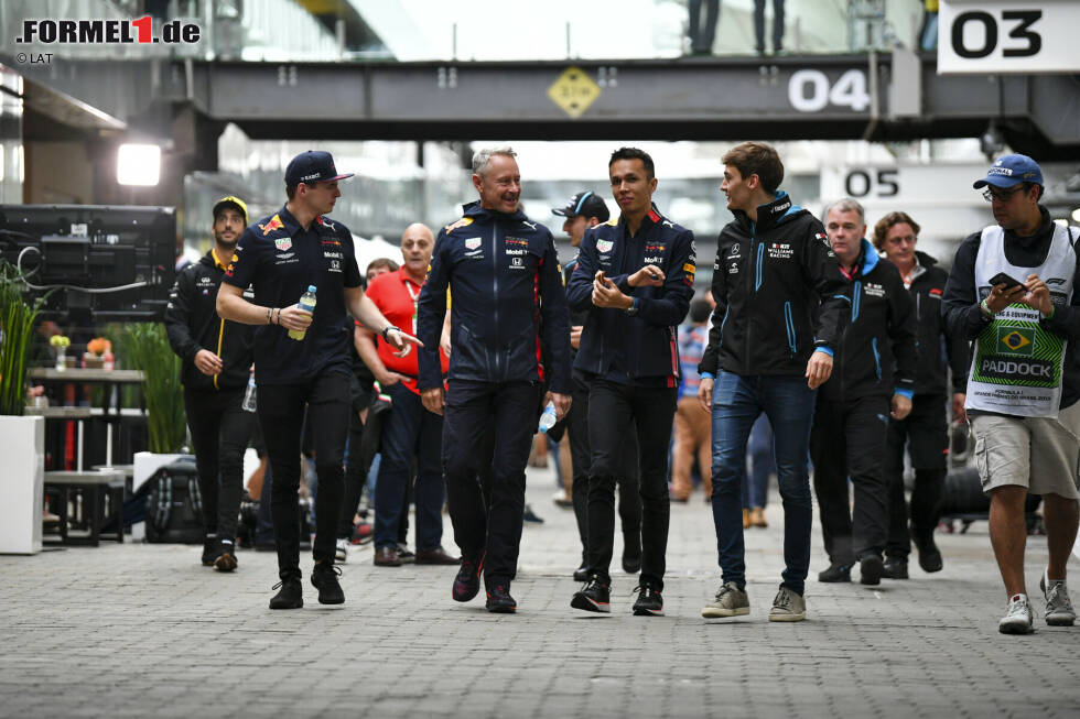 Max Verstappen (Red Bull), Alexander Albon (Red Bull) und George Russell (Williams)