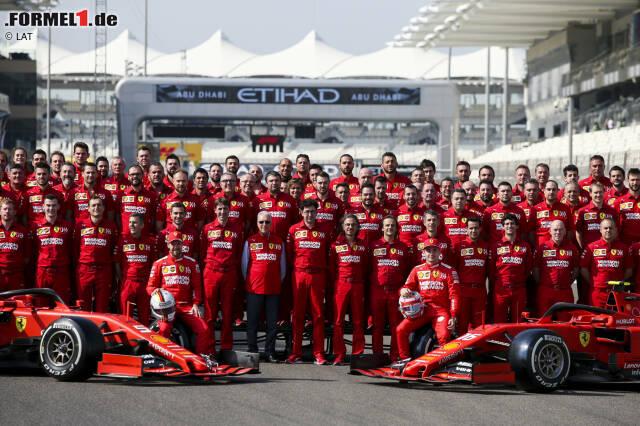 Sebastian Vettel (Ferrari), Charles Leclerc (Ferrari) und Mattia Binotto