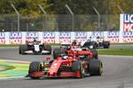 Sebastian Vettel (Ferrari), Kimi Räikkönen (Alfa Romeo) und Romain Grosjean (Haas)