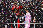 Lewis Hamilton (Mercedes), Sebastian Vettel (Ferrari) und Sergio Perez (Racing Point)