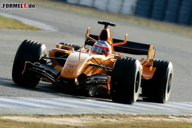 Ein Versuch, an die Tradition anzuknüpfen: McLaren testete seinen 2006er-Boliden in Jerez mit oranger Lackierung. In Melbourne ging der Wagen aber nicht im Ur-Design auf die Strecke.