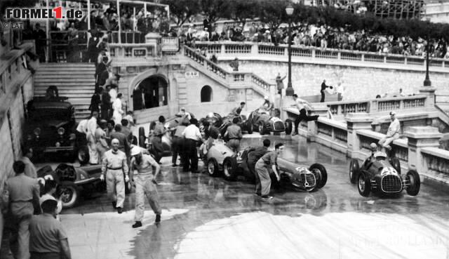 Der Startschuss 1950: Das zweite Rennen der Formel-1-Geschichte in Monaco und gleich der erste Massencrash. Zum Glück kommen alle Beteiligten schlimmstenfalls mit leichten Verletzungen davon. Alberto Ascari kann gerade noch ausweichen. Der erste Sieger in Monaco heißt aber Juan Manuel Fangio.