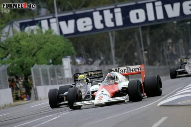 Im Jahr 1986 platzt Nigel Mansells Reifen und damit auch seine Titelhoffnung. Der lachende Sieger ist Alain Prost, der sich die Weltmeisterschaft mit einem hauchdünnen Vorsprung von zwei Punkten sichert.