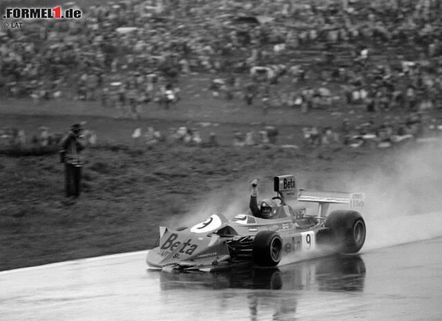 Platz 10 - Vittorio Brambilla: Der Italiener stand in seiner Formel-1-Karriere nur einmal auf dem Podium, dann allerdings gleich auf der höchsten Stufe. 1975 gewann er mit March das Regenrennen auf dem Österreichring. Vor lauter Freude darüber crashte Brambilla sein Auto nach der Zieldurchfahrt.