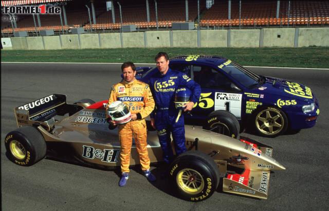 """Alles beginnt mit einer verrückten Idee - und die kommt natürlich von Eddie Jordan: Der Ire lässt seinen Piloten Martin Brundle am 5. August 1996 das Cockpit mit dem zu diesem Zeitpunkt amtierenden Rallye-Weltmeister Colin McRae tauschen. In Silverstone dreht """"Colin McCrash"""" seine Runden im Peugeot-befeuerten Jordan 195 ..."""