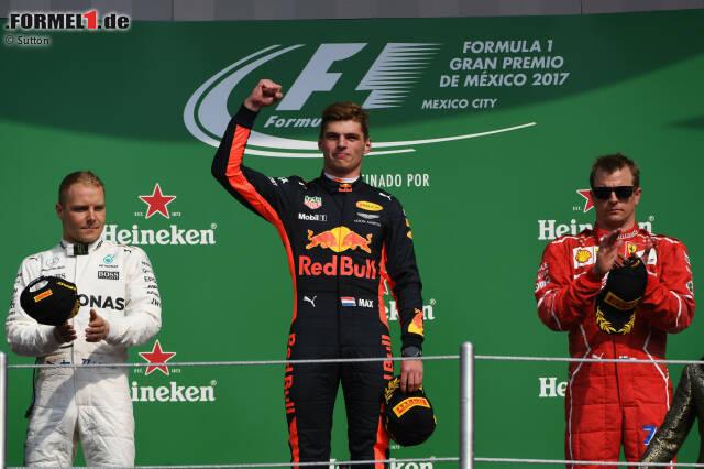 """Zum ersten Mal seit Fuji 1976 wird der neue Weltmeister überrundet. Aber das kümmert Max Verstappen wenig. Er gewinnt zum dritten Mal ein Formel-1-Rennen. """"Red Bull war zu schnell für uns"""", muss sich Valtteri Bottas eingestehen. Zum ersten Mal seit Belgien stehen die drei Topteams in Mexiko gemeinsam auf dem Podium."""