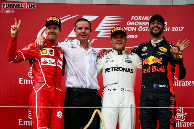 Zweiter Sieg für Valtteri Bottas nach Sotschi, noch 15 Punkte Rückstand auf Lewis Hamilton in der WM: Österreich ist für den Finnen eine Reise wert. Daniel Ricciardo steht zum fünften Mal hintereinander auf dem Podium. In der Europa-Saison hat er gleich viele Punkte gesammelt wie WM-Leader Sebastian Vettel.