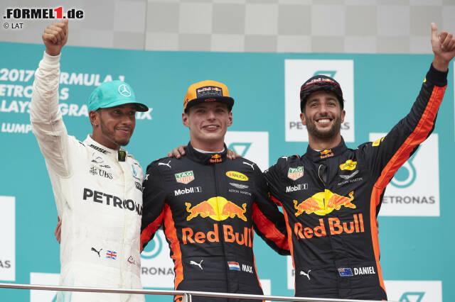 """Max Verstappen hat sich seinen ersten """"echten"""" Sieg gewünscht, einen, den er nicht wegen einer Mercedes-Kollision erbt wie in Barcelona 2016. Jetzt hat er ihn! Beim 19. und (vorerst?) letzten Grand Prix von Malaysia triumphiert er vor Lewis Hamilton und Daniel Ricciardo. Mit einer """"perfekten"""" Fahrt, wie Experte Martin Brundle attestiert."""