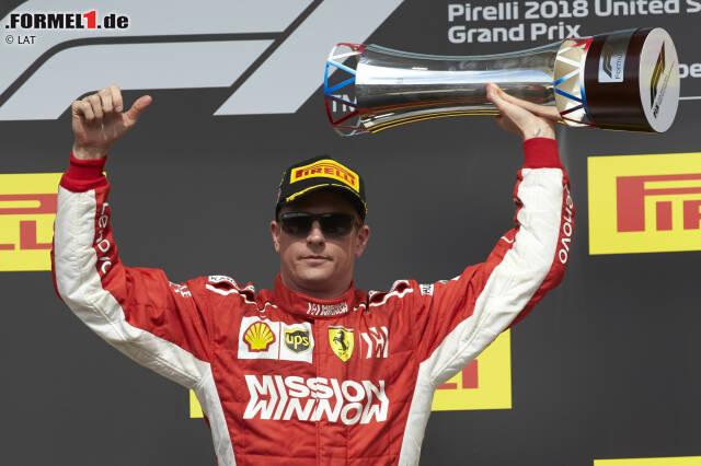 4. Kimi Räikkönen - Letzter Sieg: Großer Preis der USA 2018 für Ferrari