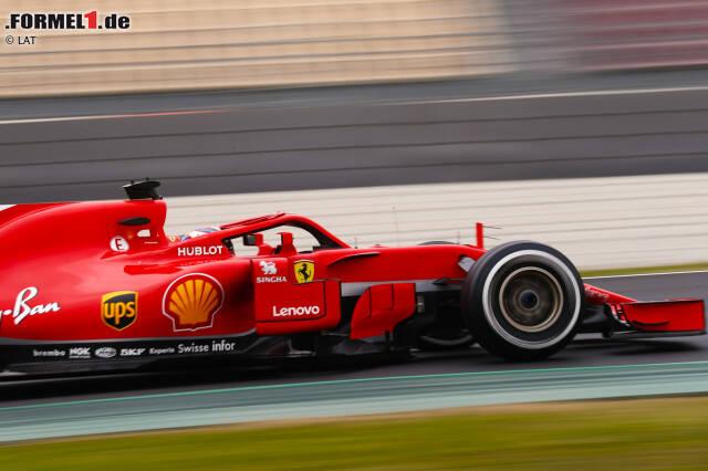 Unser Bild zeigt die seitlichen Windabweiser und die Luftleitbleche am Ferrari SF71H.