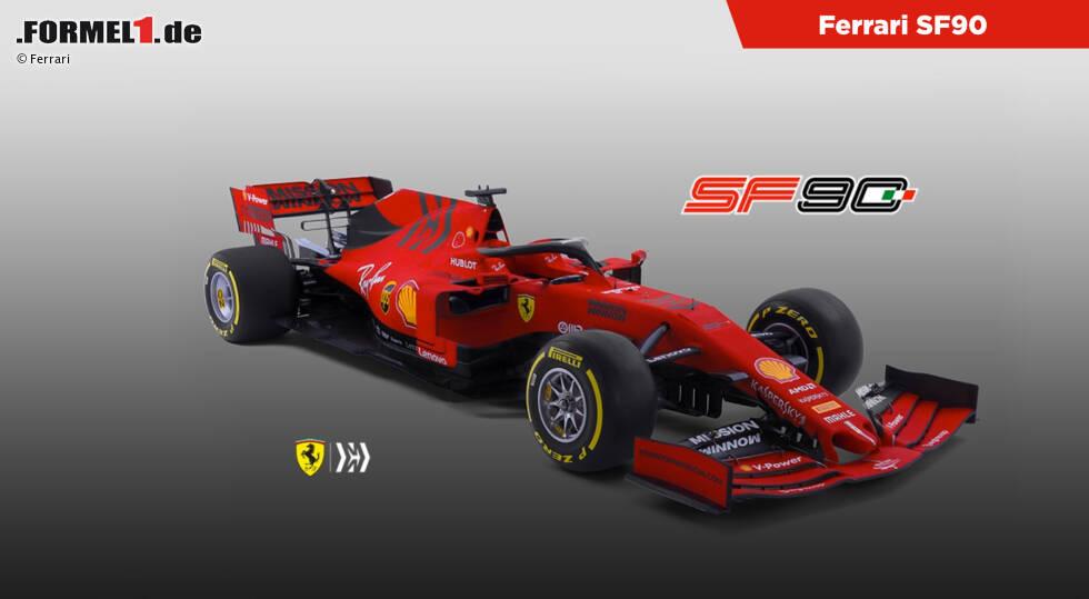 So sieht Sebastian Vettels neuer Ferrari SF90 aus. Jetzt durch weitere Fotos und Detailaufnahmen des neuen Ferrari klicken!
