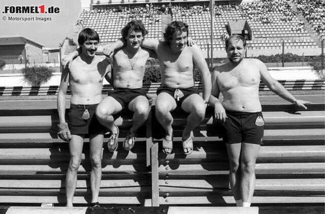 1980: Whiting, Ingenieur im Brabham-Team, mit Kollegen. Whiting ist der Dritte von links.