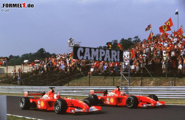 """Platz 10: 2001 - Rubens Barrichello (45,53 Prozent der Punkte von Michael Schumacher) - Nie ist der Unterschied zwischen den beiden bei Ferrari größer. """"Schumi"""" holt nicht nur mehr als doppelt so viele Punkte. Er feiert auch neun Saisonsiege, während Barrichello kein einziges Mal auf der obersten Stufe des Podiums steht."""
