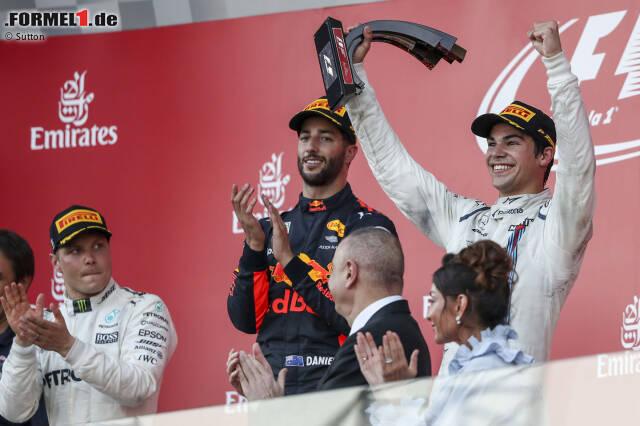 #10: Aserbaidschan 2017 - Daniel Ricciardo, Valtteri Bottas, Lance Stroll (Durchschnittsalter: 24 Jahre, 9 Monate, 26 Tage)
