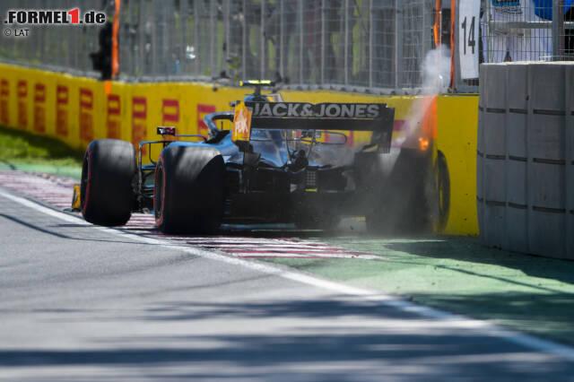 """Das geht nicht gut: Kevin Magnussen rutscht in Richtung der berüchtigten """"Wall of Champions"""" in der letzten Kurve des Circuit Gilles Villeneuve."""