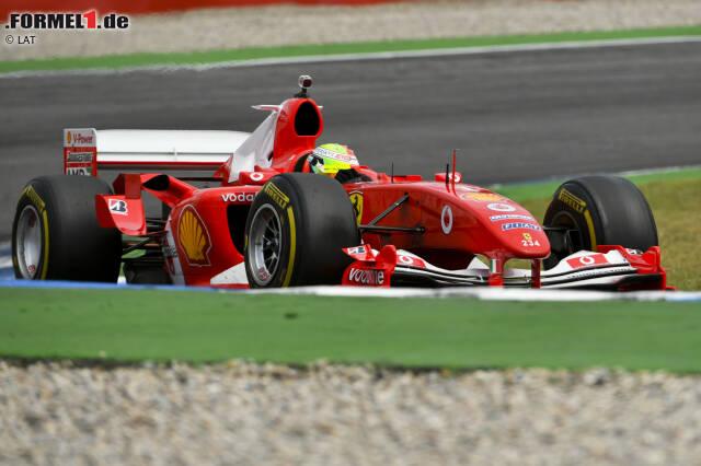 Der Ferrari F2004 von Michael Schumacher aus der Saison 2004, pilotiert im Rahmenprogramm des Deutschland-Grand-Prix 2019 von Mick Schumacher.
